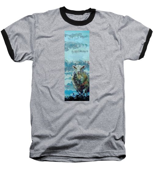 Colorful Sky And Sheep - Narrow Painting Baseball T-Shirt