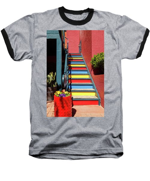 Colorful Stairs Baseball T-Shirt by James Eddy