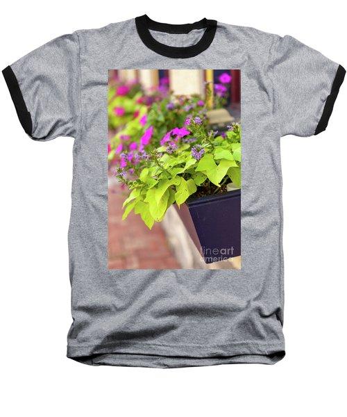 Colorful Summer Flowers In Window Box Baseball T-Shirt