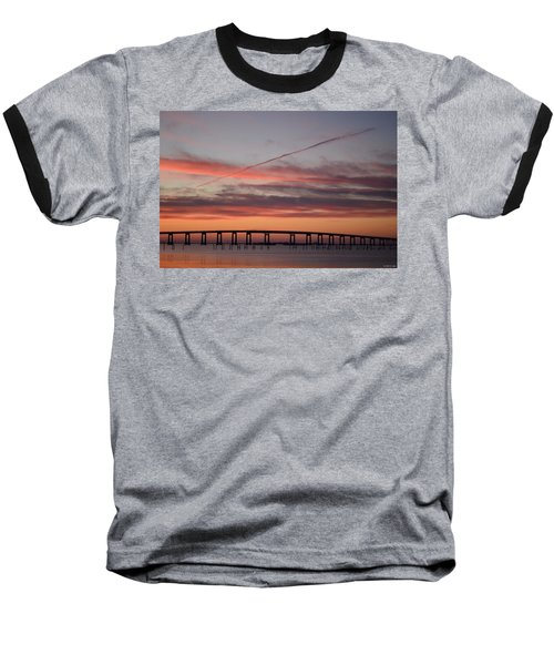 Colorful Sunrise Over Navarre Beach Bridge Baseball T-Shirt