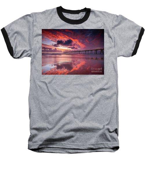 Colorful Sunrise Baseball T-Shirt by Rod Jellison