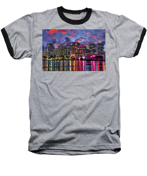 Colorful Sunset Over Downtown West Palm Beach Florida Baseball T-Shirt