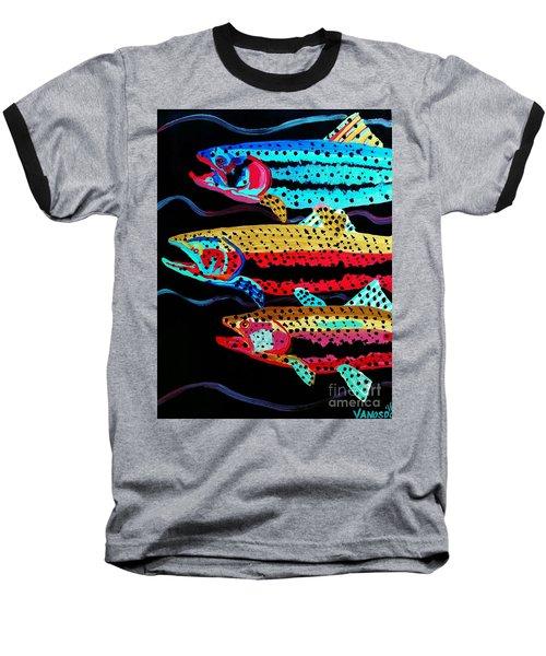 Colorful Swimming Trout Baseball T-Shirt
