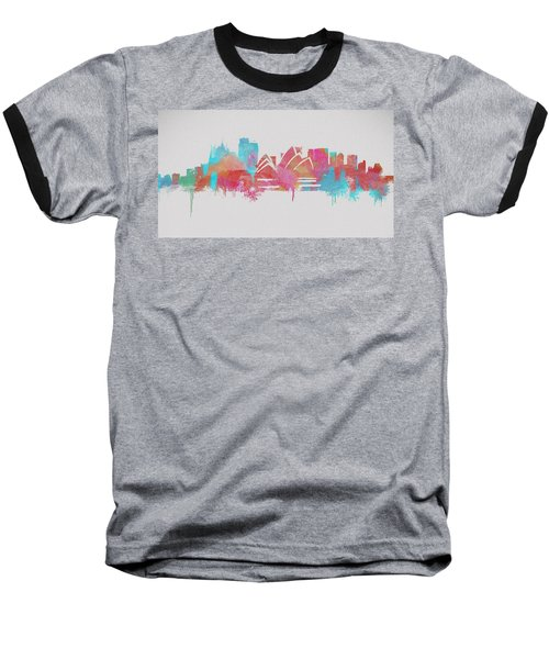 Colorful Sydney Skyline Silhouette Baseball T-Shirt by Dan Sproul