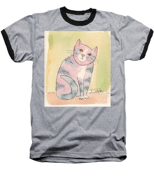 Colorful Tabby Baseball T-Shirt by Terry Taylor