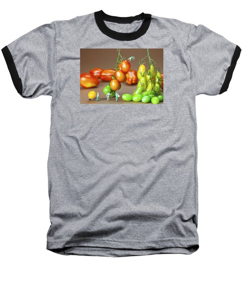 Baseball T-Shirt featuring the photograph Colorful Tomato Harvest Little People On Food by Paul Ge
