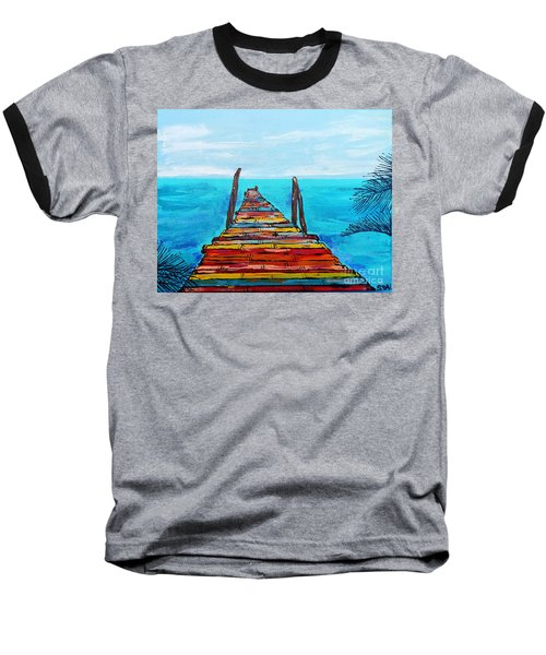Colorful Tropical Pier Baseball T-Shirt