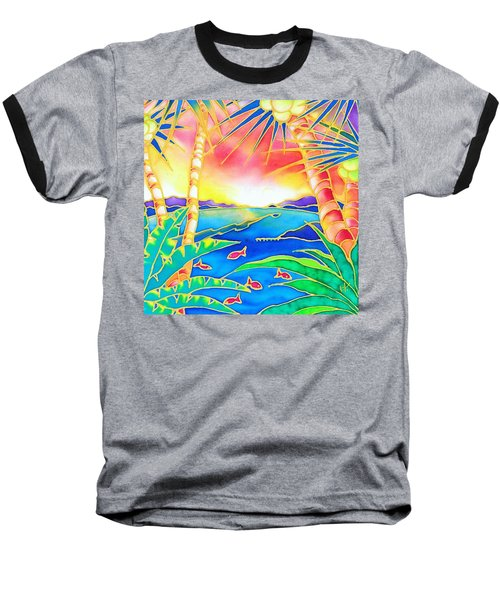 Baseball T-Shirt featuring the painting Colorful Tropics 12 by Hisayo Ohta