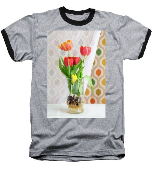 Colorful Tulips And Bulbs In Glass Vase Baseball T-Shirt