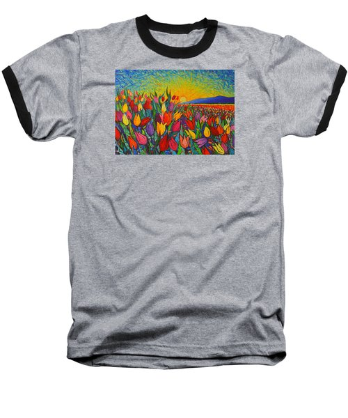 Colorful Tulips Field Sunrise - Abstract Impressionist Palette Knife Painting By Ana Maria Edulescu Baseball T-Shirt by Ana Maria Edulescu