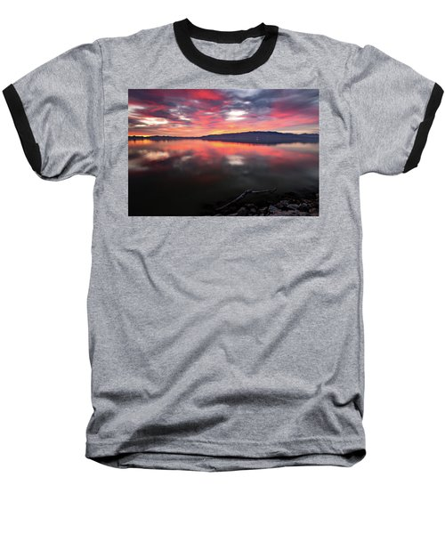 Colorful Utah Lake Sunset Baseball T-Shirt