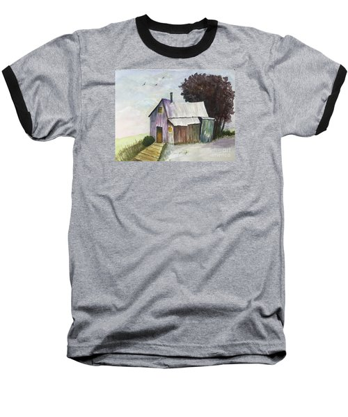 Baseball T-Shirt featuring the painting Colorful Weathered Barn by Lucia Grilletto