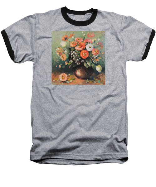Coloroful Zinnias Bouqet Baseball T-Shirt by Vali Irina Ciobanu