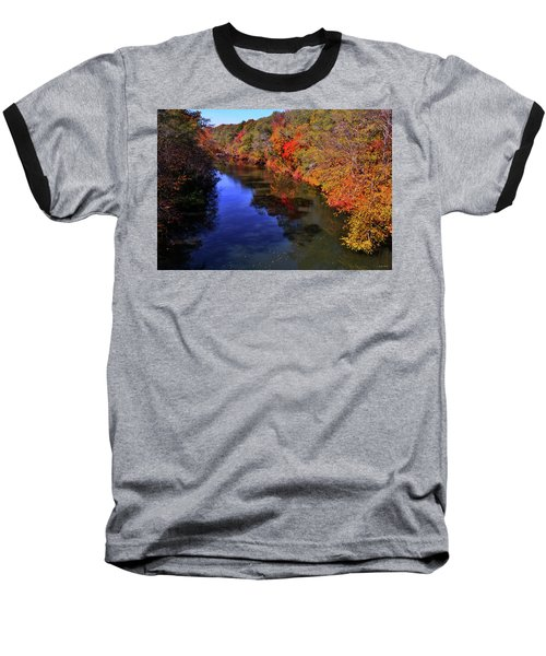 Colors Of Nature - Fall River Reflections 001 Baseball T-Shirt by George Bostian