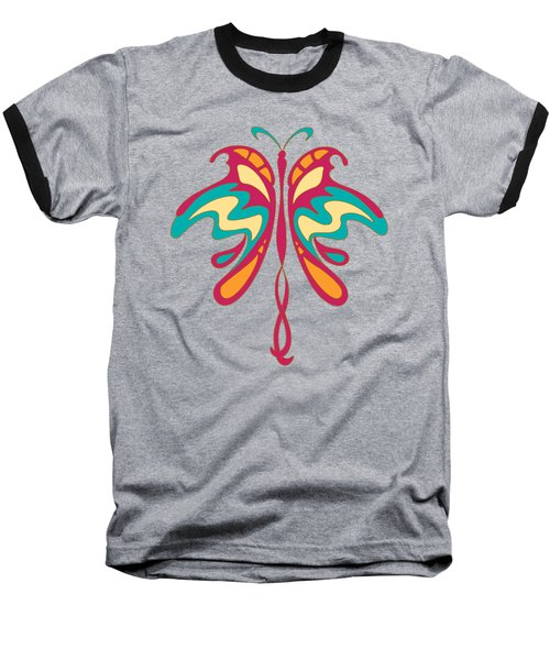 Colourful Art Nouveau Butterfly Baseball T-Shirt