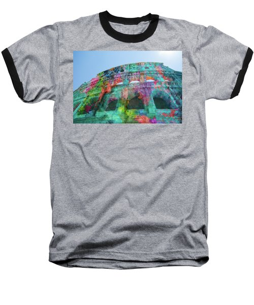 Baseball T-Shirt featuring the mixed media Colourful Grungy Colosseum In Rome by Clare Bambers