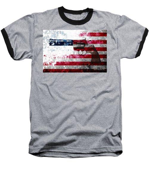 Colt Python 357 Mag On American Flag Baseball T-Shirt by M L C