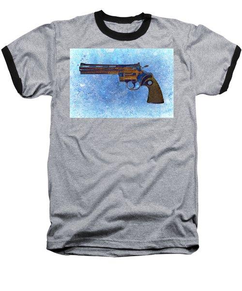 Colt Python 357 Mag On Blue Background. Baseball T-Shirt by M L C