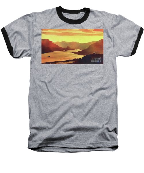 Baseball T-Shirt featuring the painting Columbia Gorge Scenery by Ryan Fox