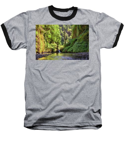 Columbia Gorge Waterfall In Summer Baseball T-Shirt