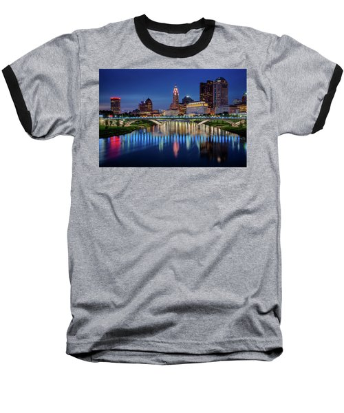 Baseball T-Shirt featuring the photograph Columbus Ohio Skyline At Night by Adam Romanowicz