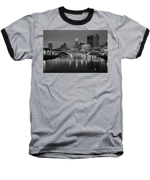 Baseball T-Shirt featuring the photograph Columbus Ohio Skyline At Night Black And White by Adam Romanowicz