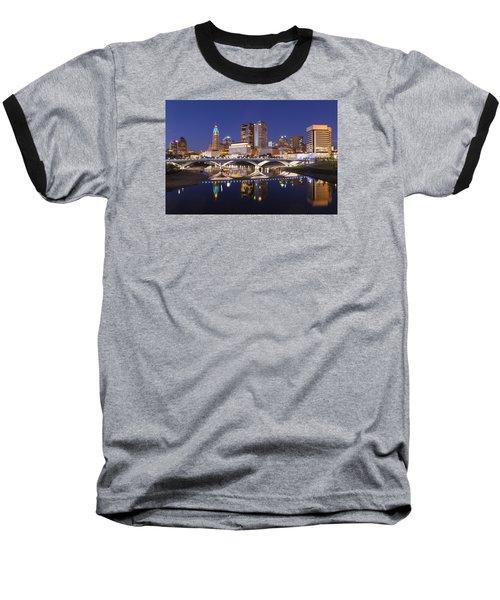 Columbus Skyline Reflection Baseball T-Shirt