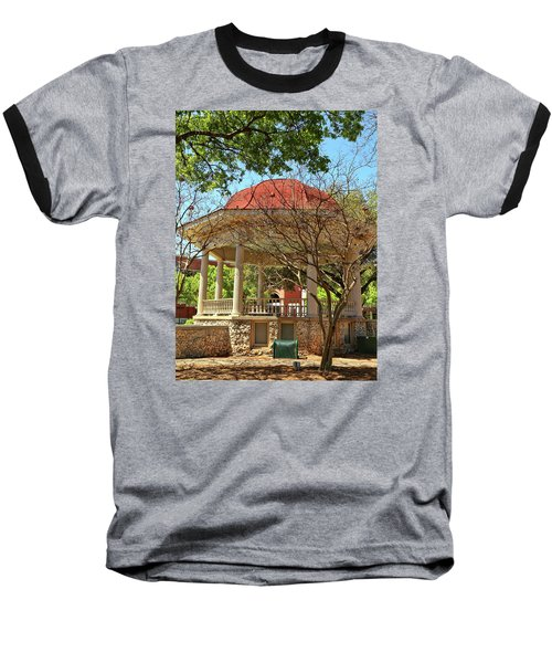 Comal County Gazebo In Main Plaza Baseball T-Shirt by Judy Vincent