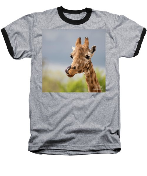 Comical Giraffe With His Tongue Out.  Baseball T-Shirt
