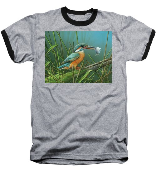 Baseball T-Shirt featuring the painting Common Kingfisher by Mike Brown