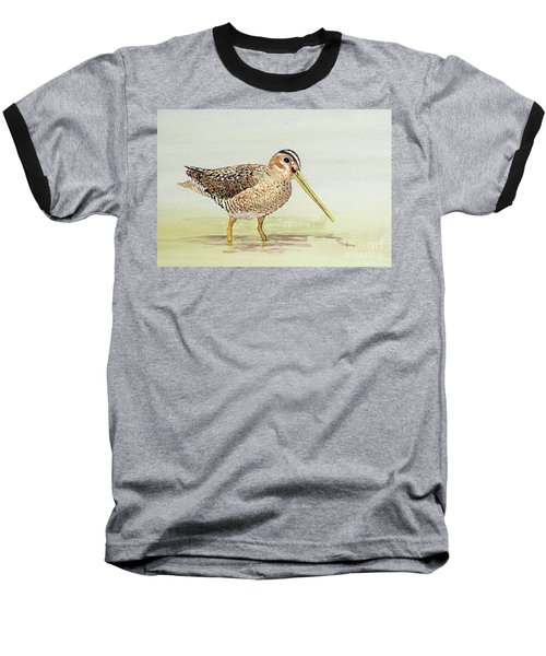 Common Snipe Wading Baseball T-Shirt by Thom Glace