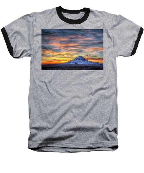 Complicated Sunrise Baseball T-Shirt by Fiskr Larsen
