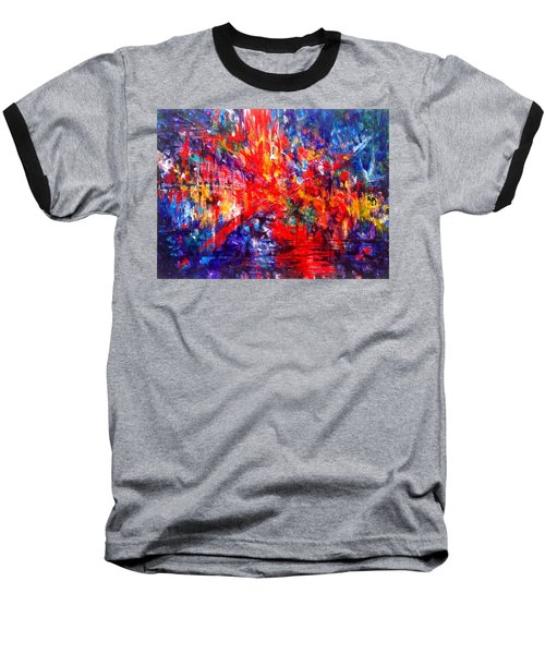 Composition # 1. Series Abstract Sunsets Baseball T-Shirt by Helen Kagan