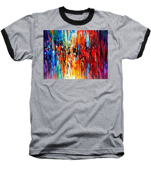 Composition # 4. Series Abstract Sunsets Baseball T-Shirt by Helen Kagan