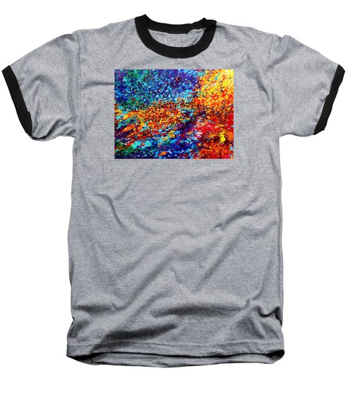 Composition # 5. Series Abstract Sunsets Baseball T-Shirt by Helen Kagan