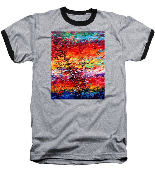 Composition # 6. Series Abstract Sunsets Baseball T-Shirt by Helen Kagan