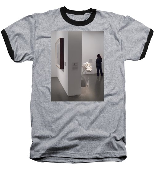 Composition In White, Black And Gray, Baseball T-Shirt by Esther Newman-Cohen