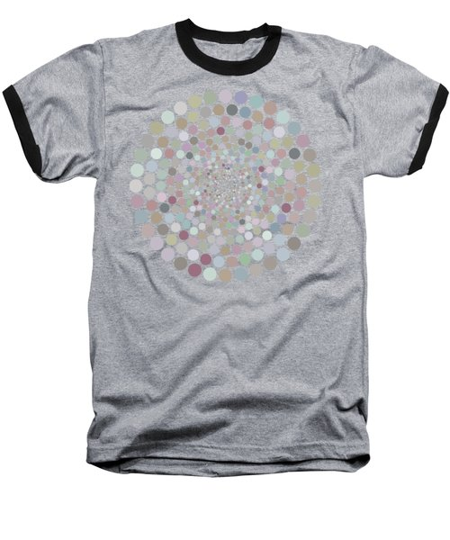 Baseball T-Shirt featuring the painting Vortex Circle - Gray by Hailey E Herrera
