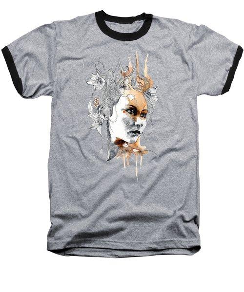 Concerned T-shirt Baseball T-Shirt by Herb Strobino