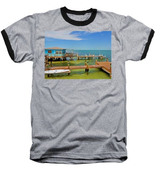 Conch Key Blue Cottage 3 Baseball T-Shirt