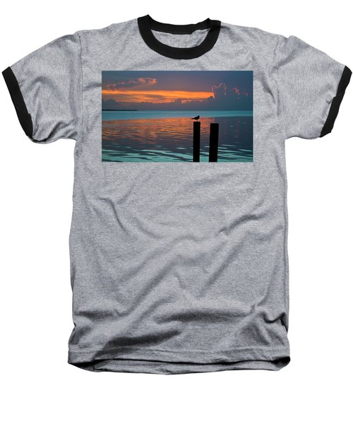 Conch Key Sunset Bird On Piling Baseball T-Shirt