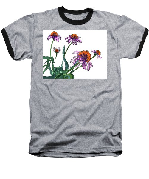 Cone Flowers Baseball T-Shirt by Jamie Downs
