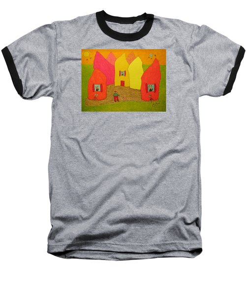 Cone-shaped Houses Man With Dog Baseball T-Shirt