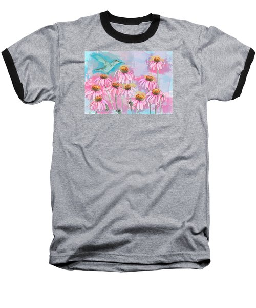 Coneflower Hummingbird Watercolor Baseball T-Shirt