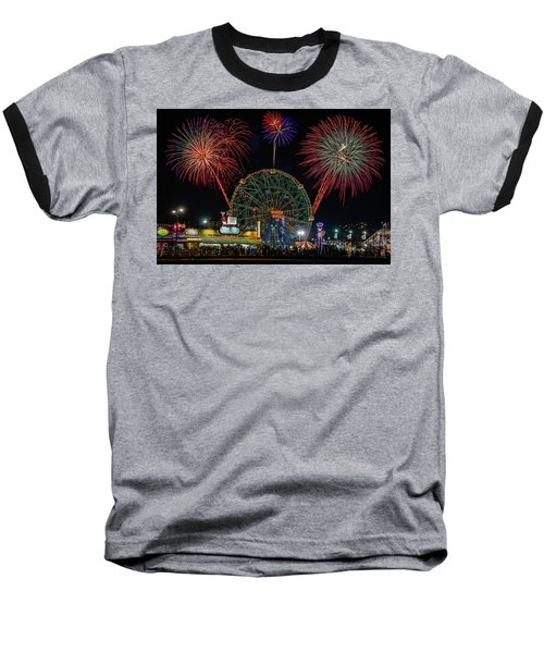 Coney Island At Night Fantasy Baseball T-Shirt