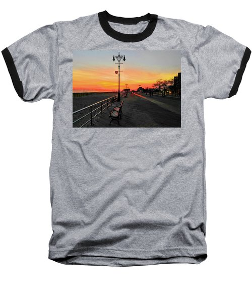 Coney Island Boardwalk Sunset Baseball T-Shirt