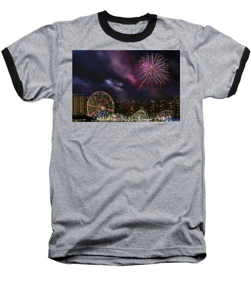 Coney Island Fireworks Baseball T-Shirt