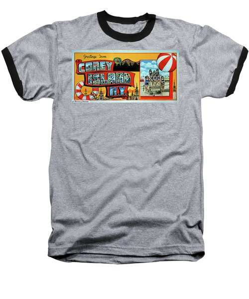 Coney Island Post Card Baseball T-Shirt