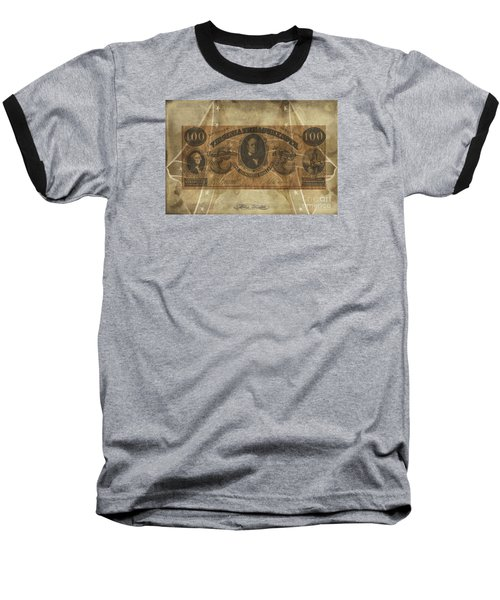 Baseball T-Shirt featuring the digital art Confederate $100 Virginia Note by Melissa Messick