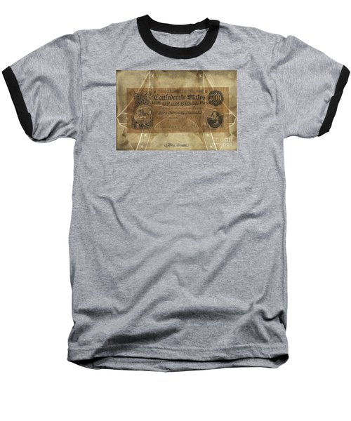 Baseball T-Shirt featuring the digital art Confederate $500.00 Note by Melissa Messick